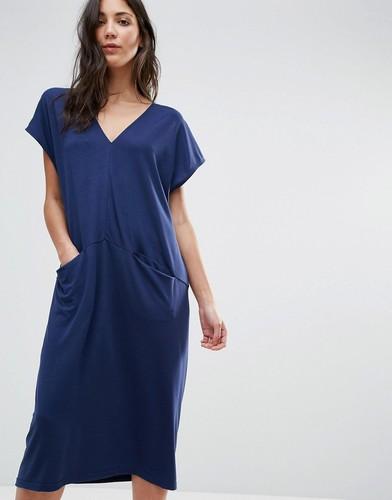 Цельнокройное платье миди с V-образным вырезом Traffic People - Синий