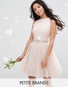 Платье мини с отделкой и пышной юбкой TFNC Petite Wedding - Розовый