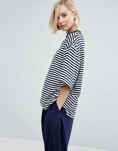 Oversize-футболка из махровой ткани в полоску ASOS WHITE - Мульти