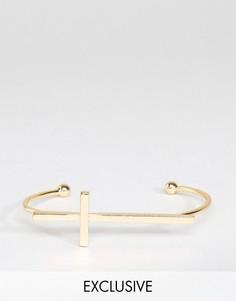 Золотистый браслет-манжет с крестом DesignB - Золотой