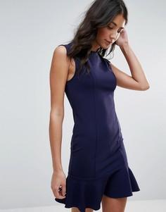 Платье миди с баской и v-образным вырезом Unique 21 - Темно-синий