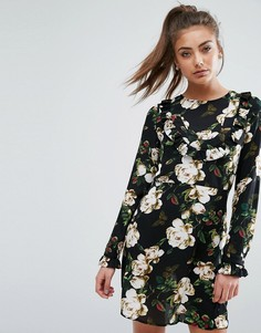Платье с цветочным принтом и рюшами спереди Boohoo - Мульти