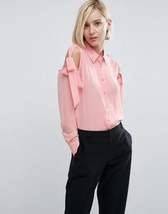 Блузка с завязками и открытыми плечами ASOS - Розовый