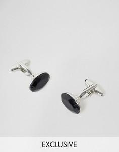 Серебристые запонки с черным камнем DesignB - Серебряный