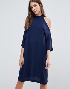Oversize-платье миди с вырезами на плечах Liquorish - Темно-синий
