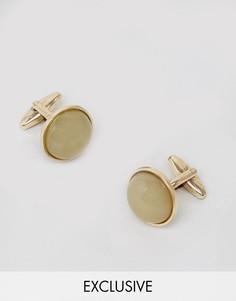 Золотистые запонки с зеленой вставкой DesignB - Золотой