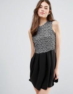Короткое приталенное платье с блестящей отделкой Hedonia - Черный