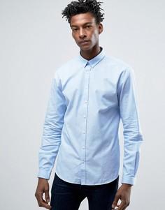 Голубая оксфордская рубашка слим Lindbergh - Фиолетовый