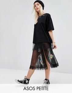 Прозрачная тюлевая юбка миди с нашивками ASOS PETITE - Черный