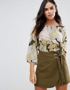 Блузка с принтом листьев Traffic People - Мульти