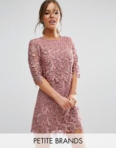 Кружевное платье-футляр Little Mistress Petite - Розовый
