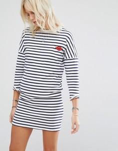 Платье-свитер в полоску с рисунком губ Maison Scotch - Мульти