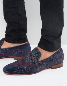 Замшевые лоферы с вышивкой Jeffery West Martini - Темно-синий
