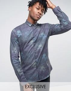 Строгая рубашка скинни с цветочным принтом Noak - Темно-синий