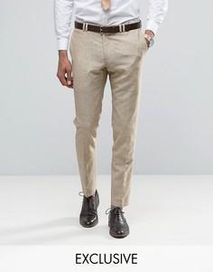 Зауженные брюки из ткани с добавлением льна в крапинку Noak - Stone