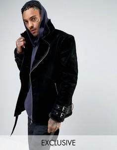 Черная куртка-пилот из искусственной замши с подкладкой из искусственного меха Mennace - Черный