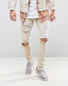 Светло-бежевые зауженные джинсы с принтом брызги краски Mennace - Кремовый