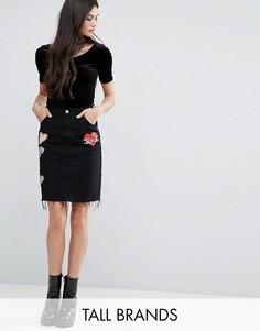 Джинсовая юбка миди с нашивками Glamorous Tall - Черный