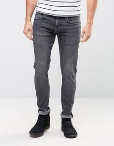 Зауженные джинсы из стираного денима Pepe Finsbury Powerflex - Синий