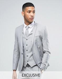 Пиджак скинни из ткани с добавлением льна в крапинку Noak - Серый
