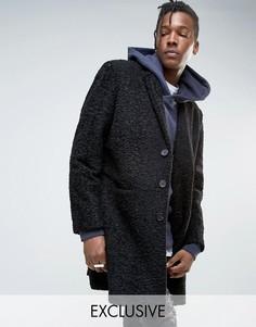 Черное однобортное пальто Mennace - Черный
