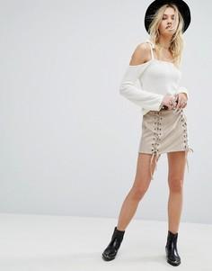 Мини-юбка со шнуровкой Honey Punch - Серый