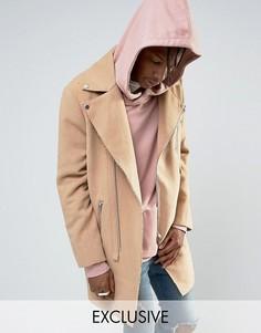 Коричневое фактурное пальто в байкерском стиле Mennace - Бежевый