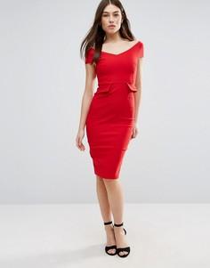 Платье-футляр миди с карманами Vesper - Красный
