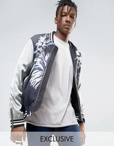 Атласная куртка-пилот с цветочным принтом и контрастными рукавами Mennace - Черный