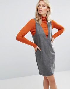 Платье-кокон с V-образным вырезом Neon Rose - Серый