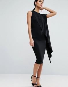 Платье миди с асимметричным каскадным верхом ASOS - Черный