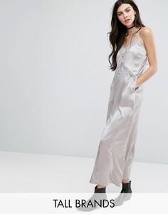 Платье-комбинация с кружевными вставками Glamorous Tall - Серый