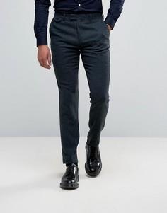 Узкие строгие брюки из 40% шерсти Harry Brown - Синий