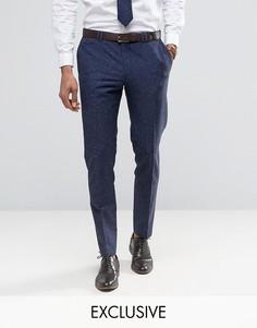 Зауженные брюки из ткани с добавлением льна в крапинку Noak - Темно-синий