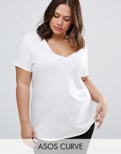 Свободная футболка с V-образным вырезом ASOS CURVE Ultimate - Белый