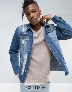 Потертая джинсовая куртка Mennace - Синий