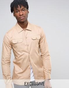 Рубашка скинни в стиле милитари Noak - Stone