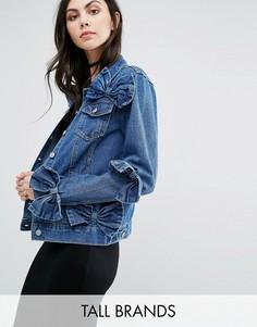 Джинсовая куртка с бантом Glamorous Tall - Синий