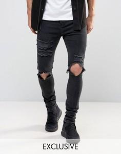 Черные рваные джинсы скинни Mennace - Черный