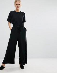 Комбинезон с затягивающимся шнурком Weekday - Черный