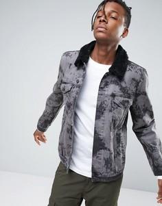 Серая джинсовая куртка с меховым воротником ASOS - Черный