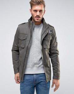 Куртка в стиле милитари с нашивками Only & Sons - Зеленый