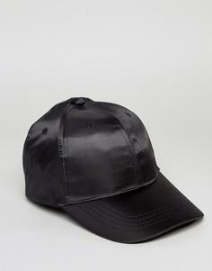 Черная атласная бейсболка Reclaimed Vintage - Черный