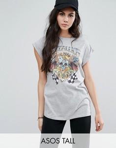 Выбеленная оversize-футболка с принтом ASOS TALL Metallica - Серый