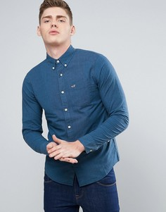Темно-синяя рубашка узкого кроя из эластичного поплина с логотипом Hollister - Темно-синий
