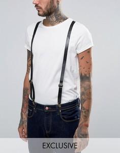 Черные кожаные подтяжки Reclaimed Vintage - Черный