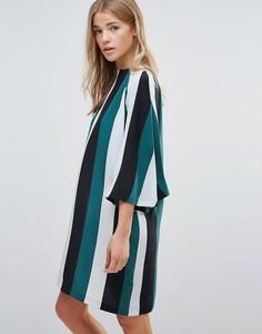 Шелковое цельнокройное платье в полоску Ganni Electra - Зеленый