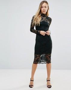 Кружевное полупрозрачное платье миди Ganni Flynn - Зеленый