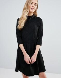 Фактурное приталенное платье с высоким воротом Ganni Perry - Черный