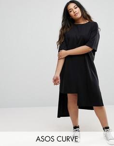 Платье-футболка с разрезами ASOS CURVE - Черный